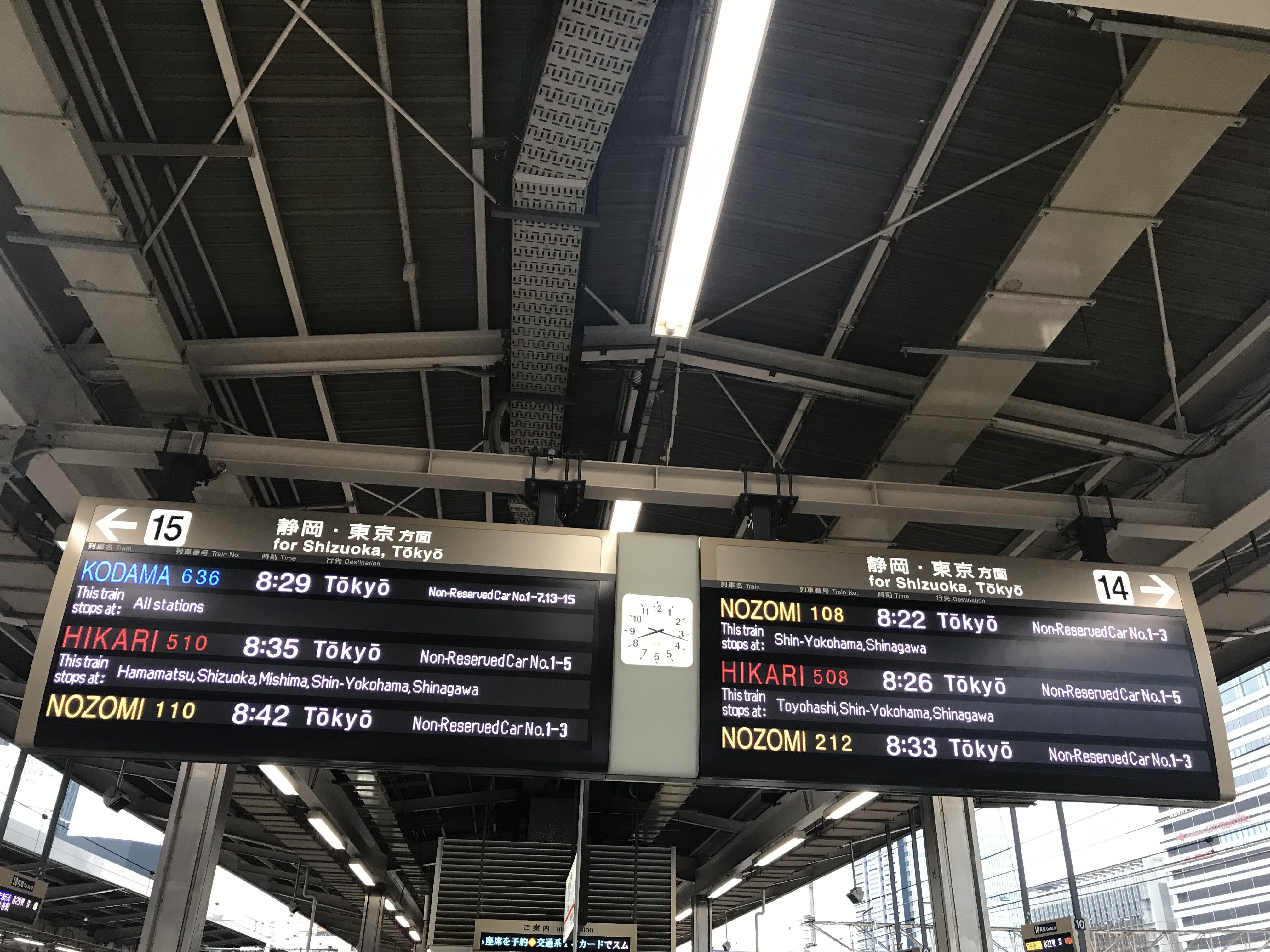 東京に行くには、新幹線